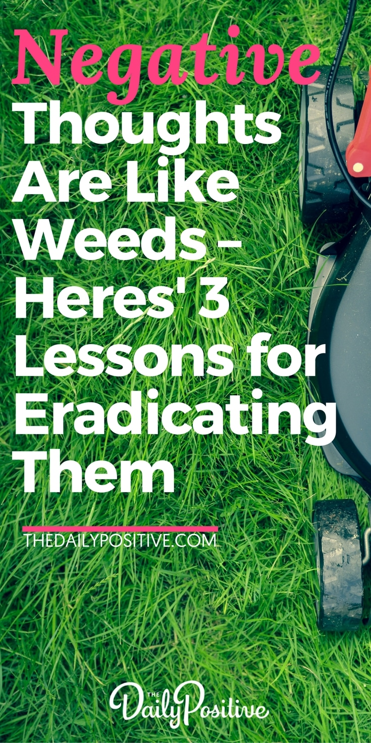 Negative thoughts are like weeds in the garden of your mind. Here are 3 lessons for how to eradicate those weedy negative thoughts in order to create a blooming, positive mindset! #psychology #mindset #thoughts #thedailypositive #teampositive #happiness #personalgrowth #selfhelp #personaldevelopment #selfimprovement
